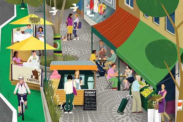 Artist drawing of people in park and markets