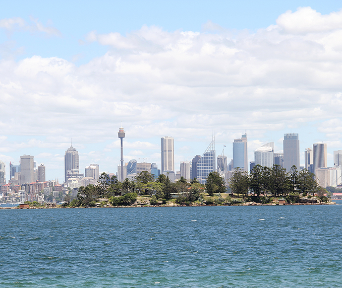 View of Sydney city from the Hermitage foreshore walking track Sydney Harbour National Park