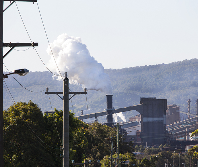 View of Bluescope Steel steelworks from surrounding streets, Port Kembla