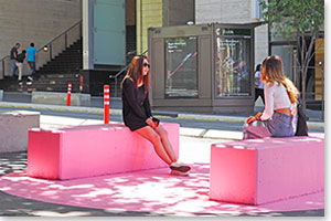 George Street temporary seating featuring colourful street-art